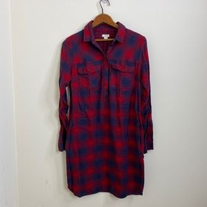 J.Crew Factory Red Blue Plaid Flannel Shirt Dress